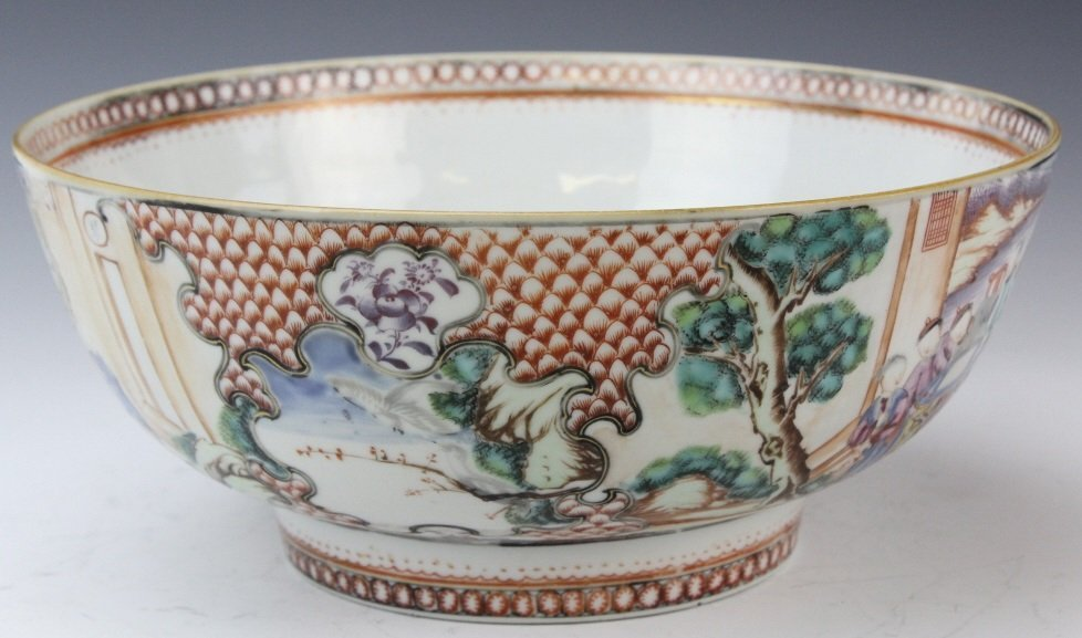 Antique Chinese Rose Mandarin Porcelain Punch Bowl - 9