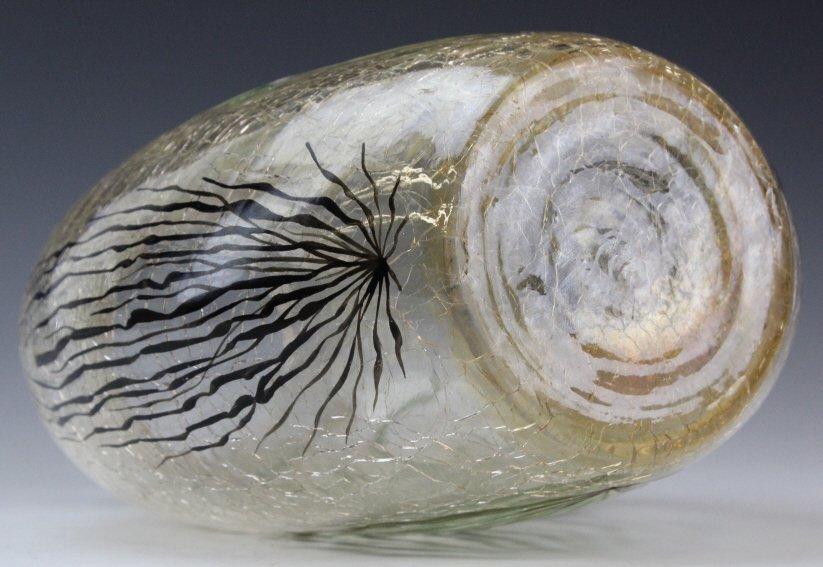 "Antique MOSER Enameled Aquatic Fish Art Glass 7"" Vase - 10"