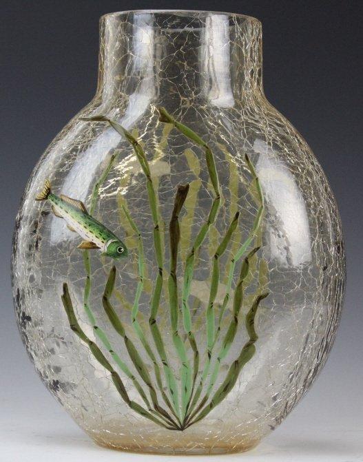 "Antique MOSER Enameled Aquatic Fish Art Glass 7"" Vase"
