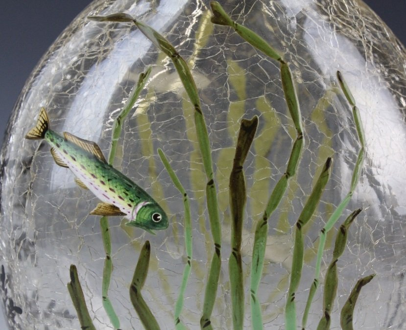 "Antique MOSER Enameled Aquatic Fish Art Glass 7"" Vase - 2"