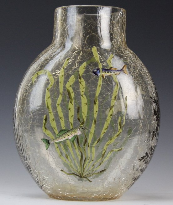 "Antique MOSER Enameled Aquatic Fish Art Glass 7"" Vase - 4"