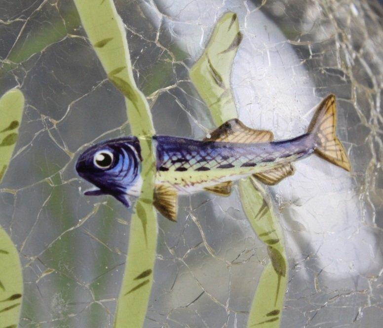 "Antique MOSER Enameled Aquatic Fish Art Glass 7"" Vase - 6"