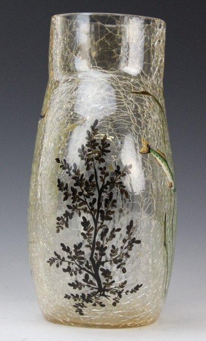 "Antique MOSER Enameled Aquatic Fish Art Glass 7"" Vase - 8"
