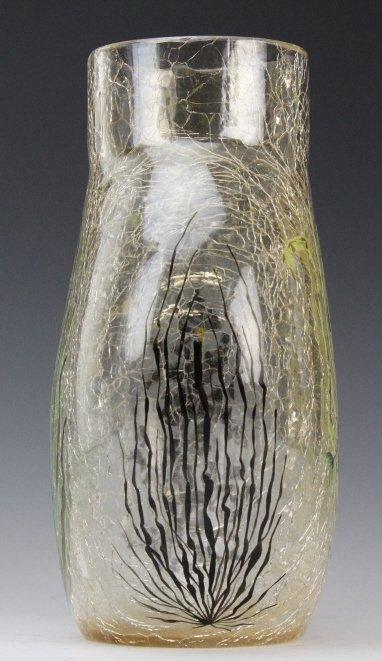 "Antique MOSER Enameled Aquatic Fish Art Glass 7"" Vase - 9"