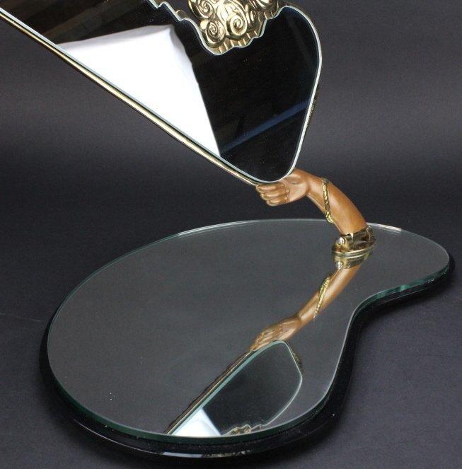 ERTE COQUETTE Deco Bronze Sculptural Vanity Mirror - 8