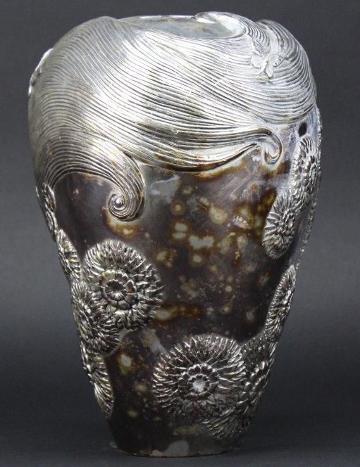 ERTE SHE LOVES ME NOT Silvered Bronze Deco Vase - 10