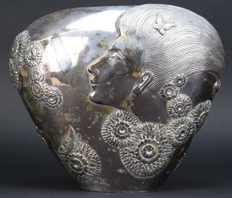 ERTE SHE LOVES ME NOT Silvered Bronze Deco Vase