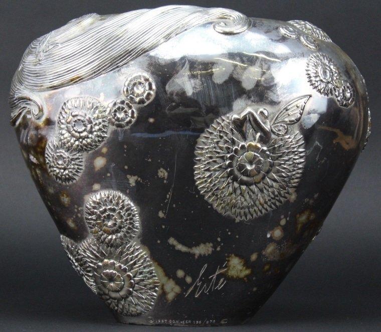 ERTE SHE LOVES ME NOT Silvered Bronze Deco Vase - 6