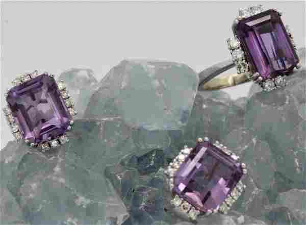 18k White Gold Amethyst & Diamond Ring Earring SET