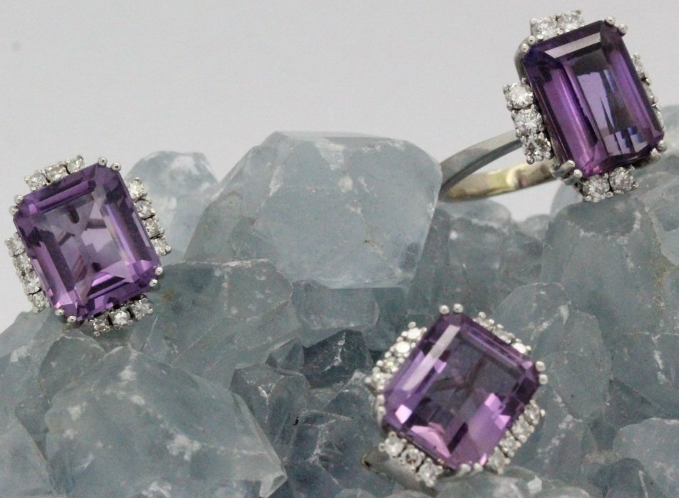18k White Gold Amethyst & Diamond Ring Earring SET