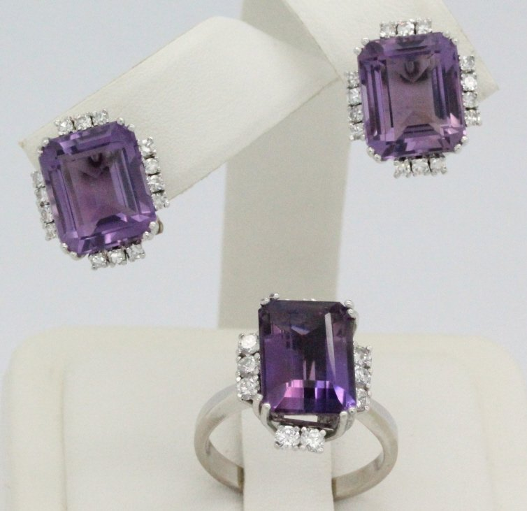 18k White Gold Amethyst & Diamond Ring Earring SET - 2