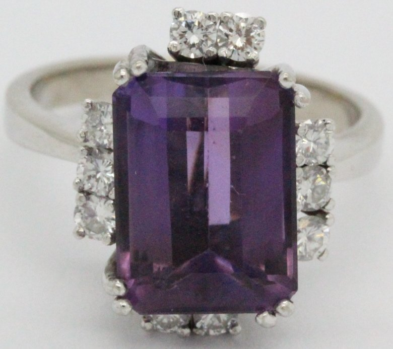 18k White Gold Amethyst & Diamond Ring Earring SET - 3