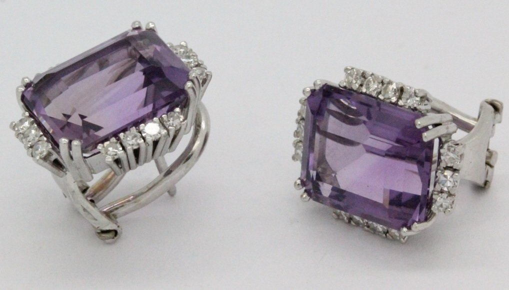18k White Gold Amethyst & Diamond Ring Earring SET - 7