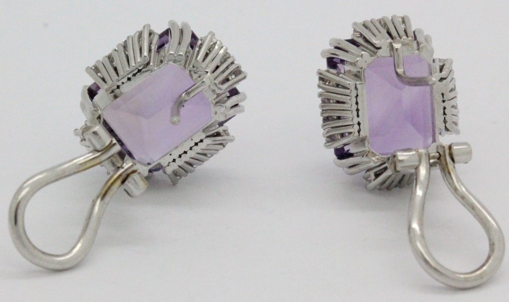 18k White Gold Amethyst & Diamond Ring Earring SET - 8