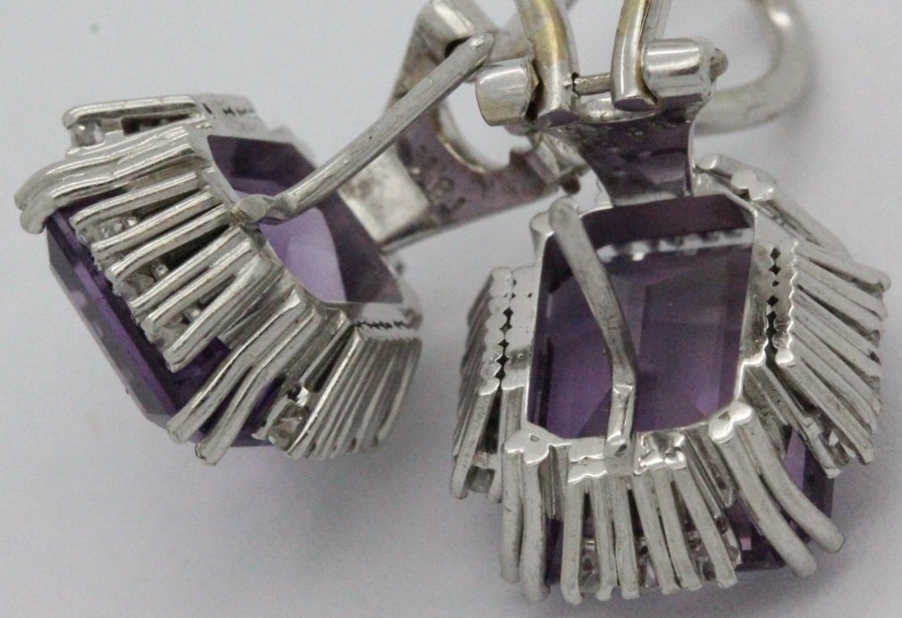 18k White Gold Amethyst & Diamond Ring Earring SET - 9