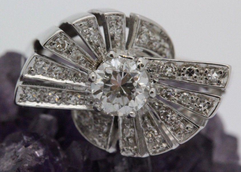 Art Deco 18k White Gold Diamond Cocktail Ring Sz 7