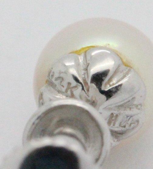 PAIR 14k White Gold Pearl & Diamond Drop Earrings - 10