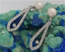 PAIR 14k White Gold Pearl  Diamond Drop Earrings