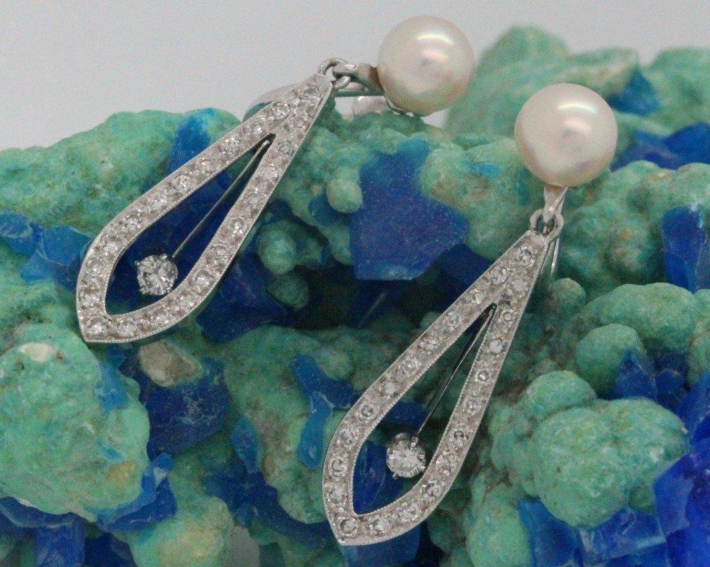 PAIR 14k White Gold Pearl & Diamond Drop Earrings