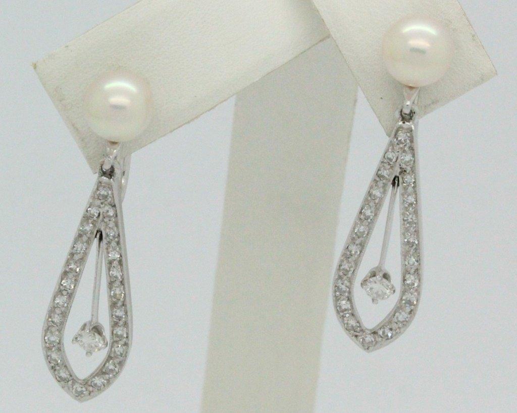 PAIR 14k White Gold Pearl & Diamond Drop Earrings - 2
