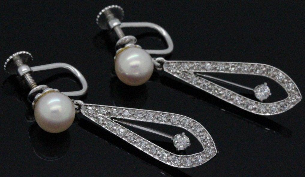 PAIR 14k White Gold Pearl & Diamond Drop Earrings - 3