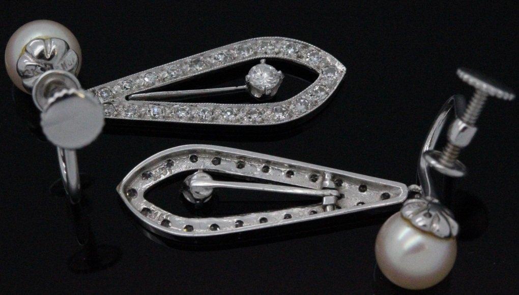 PAIR 14k White Gold Pearl & Diamond Drop Earrings - 7