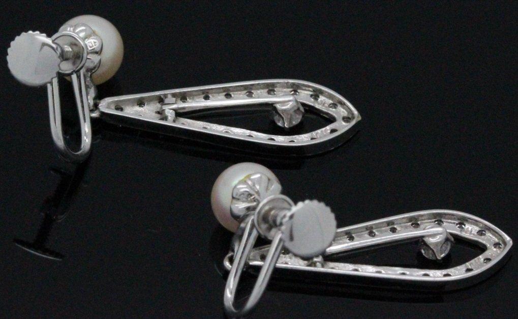 PAIR 14k White Gold Pearl & Diamond Drop Earrings - 8