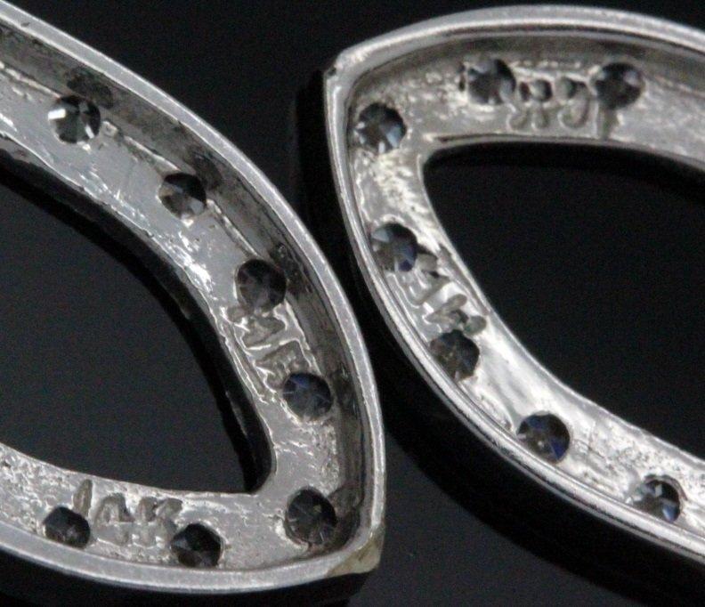 PAIR 14k White Gold Pearl & Diamond Drop Earrings - 9