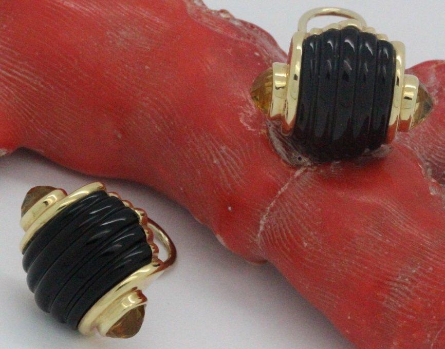 PAIR 14k Gold Trianon Black Onyx Citrine Earrings