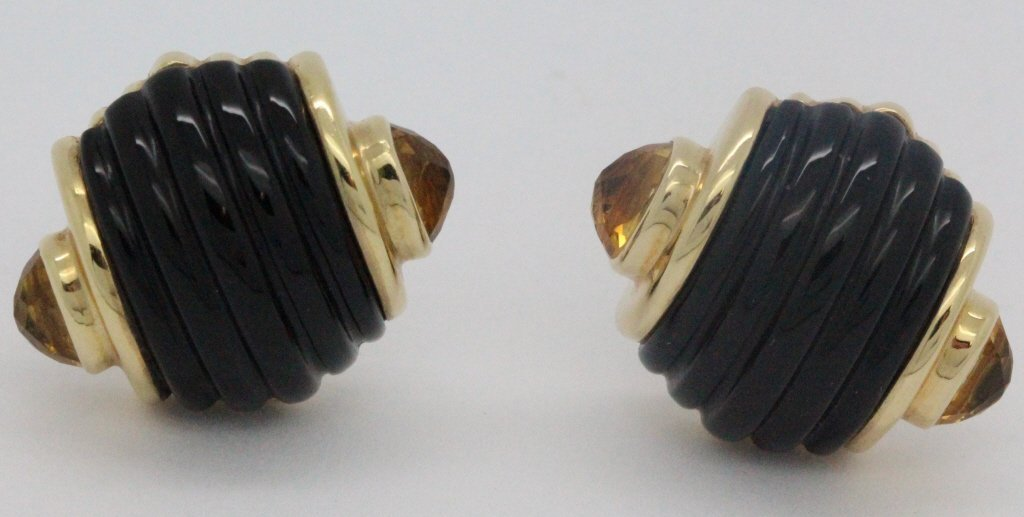 PAIR 14k Gold Trianon Black Onyx Citrine Earrings - 2