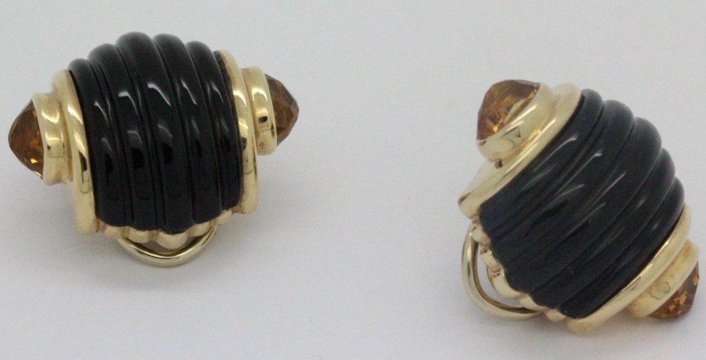 PAIR 14k Gold Trianon Black Onyx Citrine Earrings - 3
