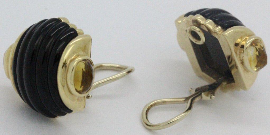 PAIR 14k Gold Trianon Black Onyx Citrine Earrings - 4