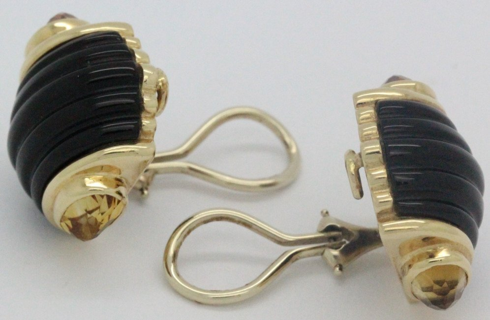 PAIR 14k Gold Trianon Black Onyx Citrine Earrings - 5