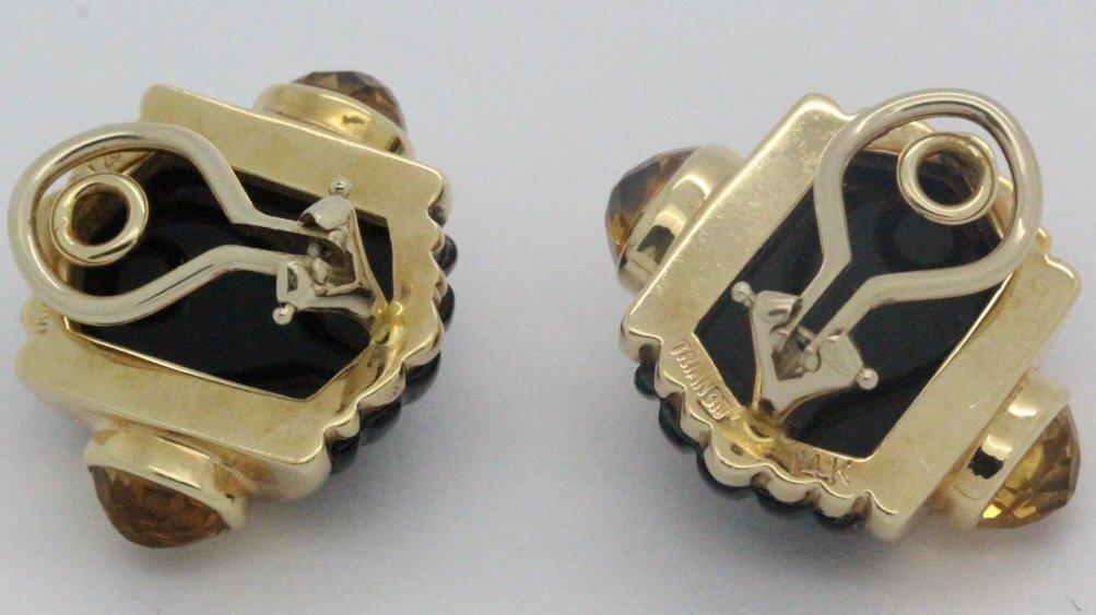 PAIR 14k Gold Trianon Black Onyx Citrine Earrings - 7