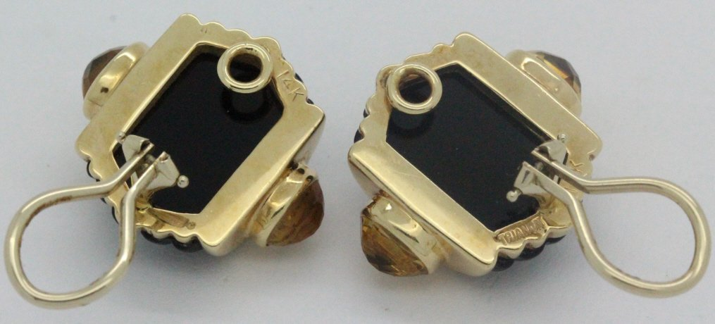 PAIR 14k Gold Trianon Black Onyx Citrine Earrings - 8