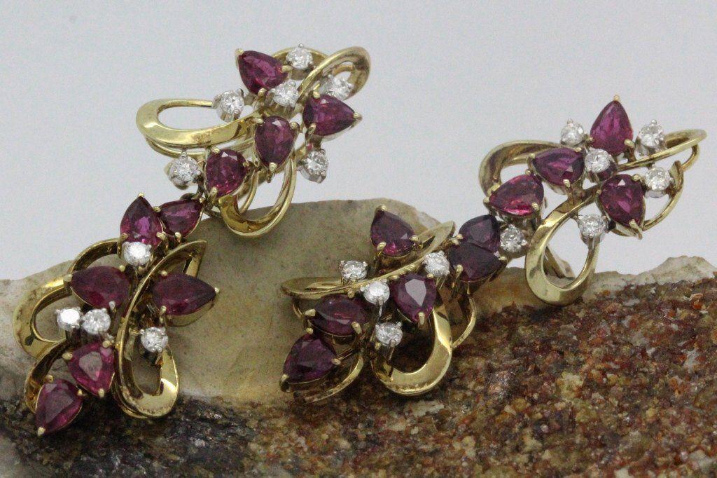 PAIR of 14K Gold Red Ruby & Diamond Drop Earrings
