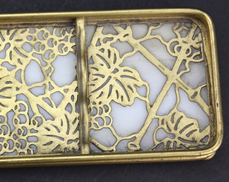 TIFFANY STUDIO Grape Vine Glass Desk Pen Rest Tray - 2