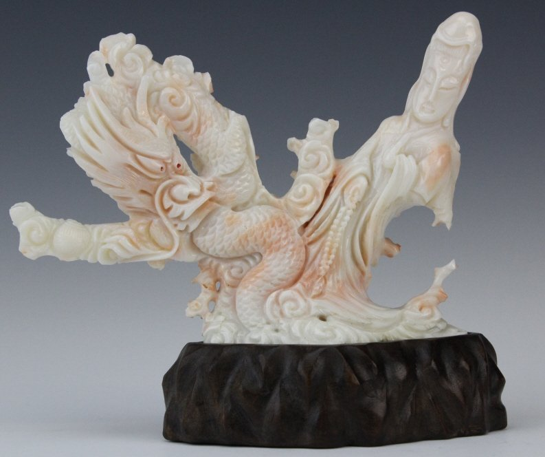 Chinese Carved Pink Angel Skin Coral Dragon & Quan Yin