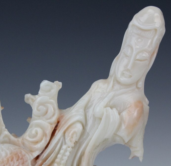 Chinese Carved Pink Angel Skin Coral Dragon & Quan Yin - 4