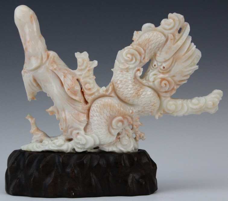 Chinese Carved Pink Angel Skin Coral Dragon & Quan Yin - 5