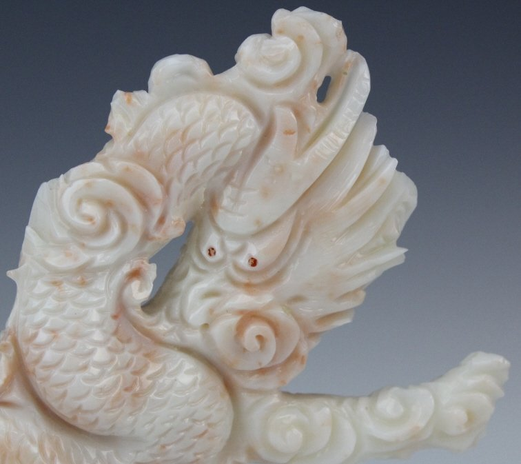 Chinese Carved Pink Angel Skin Coral Dragon & Quan Yin - 6