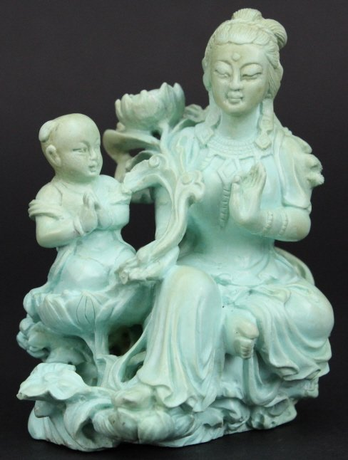 """Chinese Carved Turquoise Figural Buddha 3"""" Statue"""