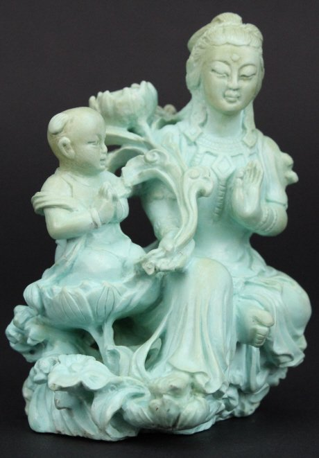 """Chinese Carved Turquoise Figural Buddha 3"""" Statue - 4"""