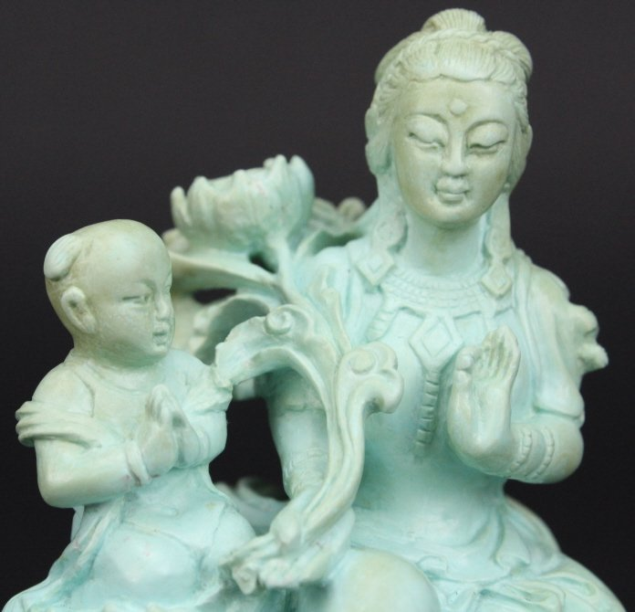 """Chinese Carved Turquoise Figural Buddha 3"""" Statue - 5"""