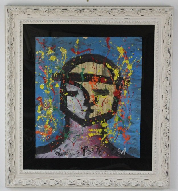 Romero Britto ORIGINAL Joy Art Newsprint Painting