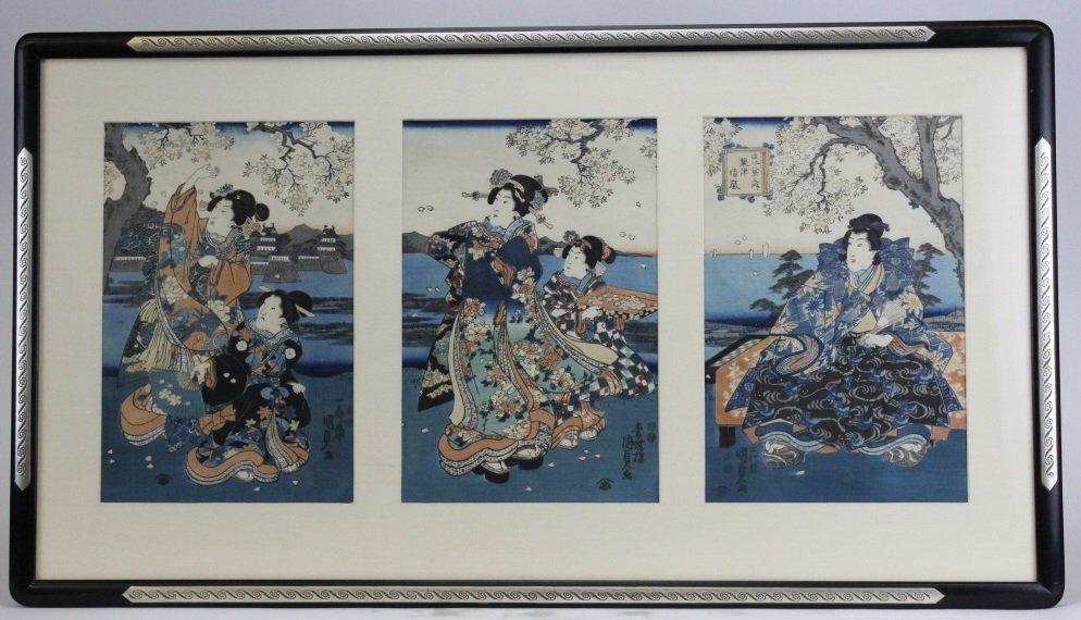 Japanese Woodblock Triptych by Utagawa Kunisada