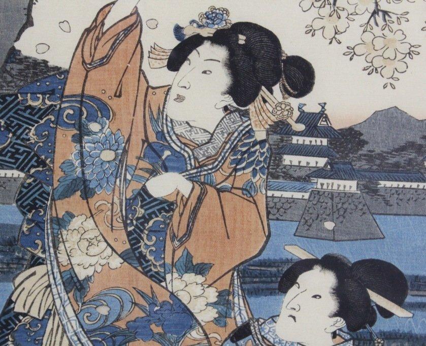Japanese Woodblock Triptych by Utagawa Kunisada - 4