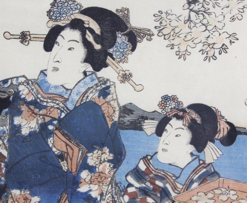 Japanese Woodblock Triptych by Utagawa Kunisada - 5