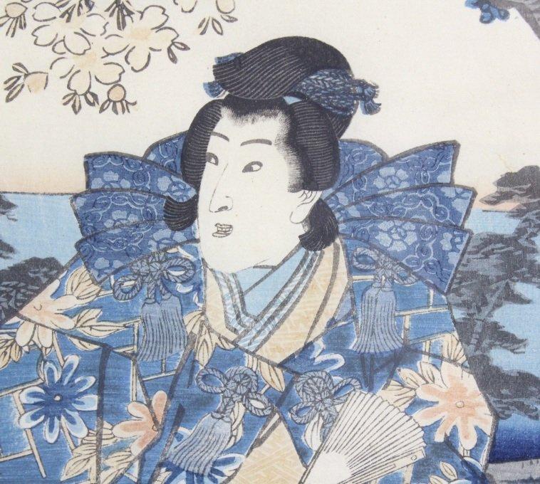 Japanese Woodblock Triptych by Utagawa Kunisada - 6