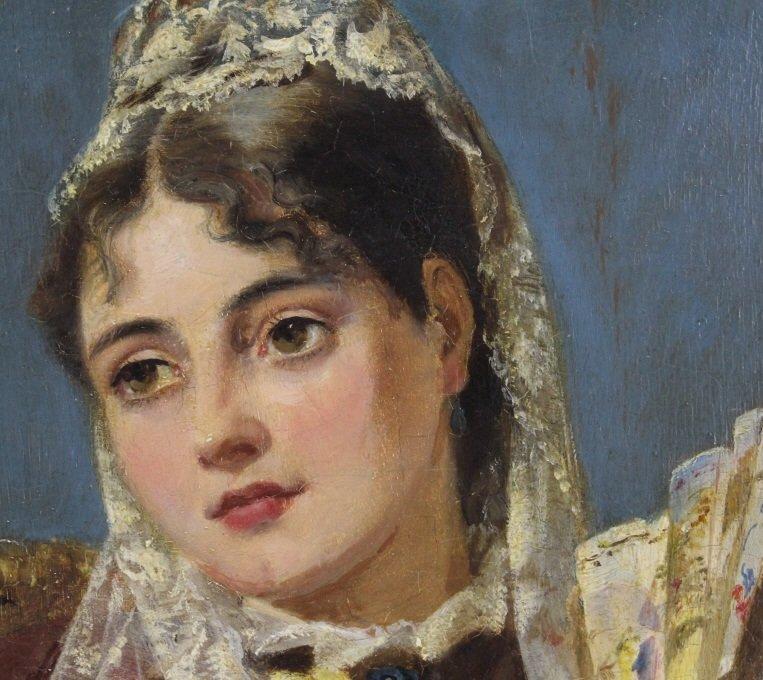 JOHN PHILLIP Spanish Girl Portrait Oil Painting - 2